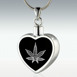 Marijuana Inlay Heart Sterling Silver Memorial Jewelry