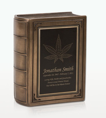 Small Marijuana Leaf Book Cremation Urn - Engravable