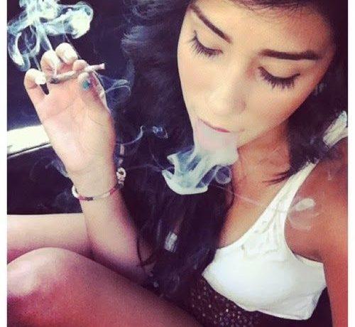 Girl Smokeing Weed